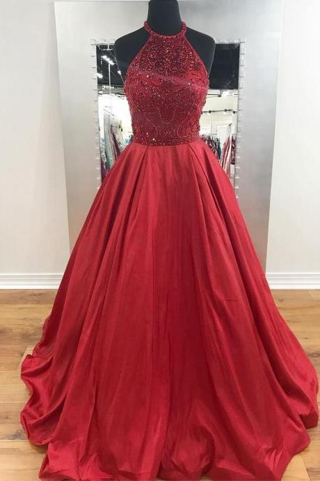 Charming A-line Halter Prom Dress,Beaded Burgundy Long Prom Dresses,Long Satin Evening Dress,Evening Dresses,Long Prom Dresses, Formal Evening Gown