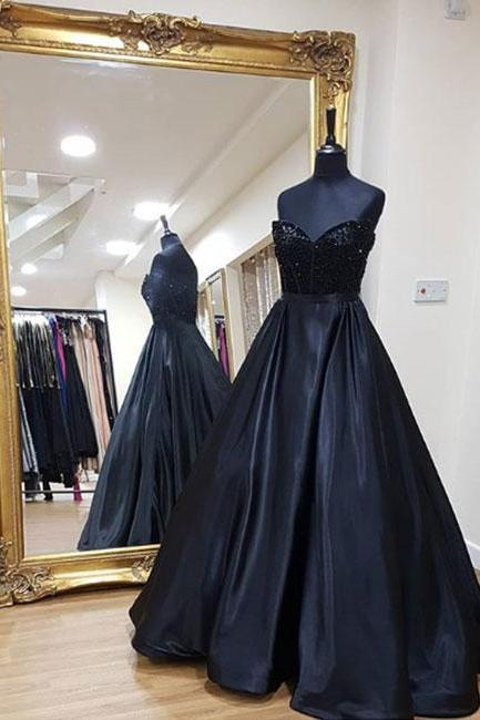 Black sweetheart neck long prom dress, black evening dress,Evening Dresses,Long Prom Dresses, Formal Evening Gown
