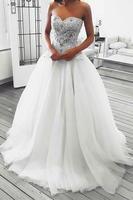 Simple Wedding Dresses,New Prom Gown,Vintage Wedding Gowns,Unique lace sweetheart neck long Bridal dress, lace evening dress