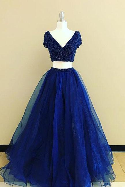 Simple Prom Dresses,New Prom Gown,Vintage Prom Gowns,royal Blue two pieces long prom dress, blue evening dress