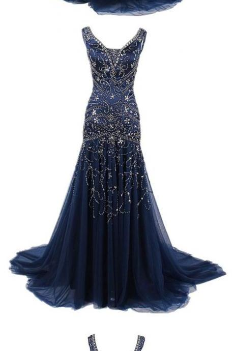 Stunning Mermaid Prom Dresses, Beading Prom Evening Dress, V Neck Blue Tulle Prom Dress, Long Prom Evening Dresses,Evening Dress,Long Prom Dresses, Formal Evening Gown
