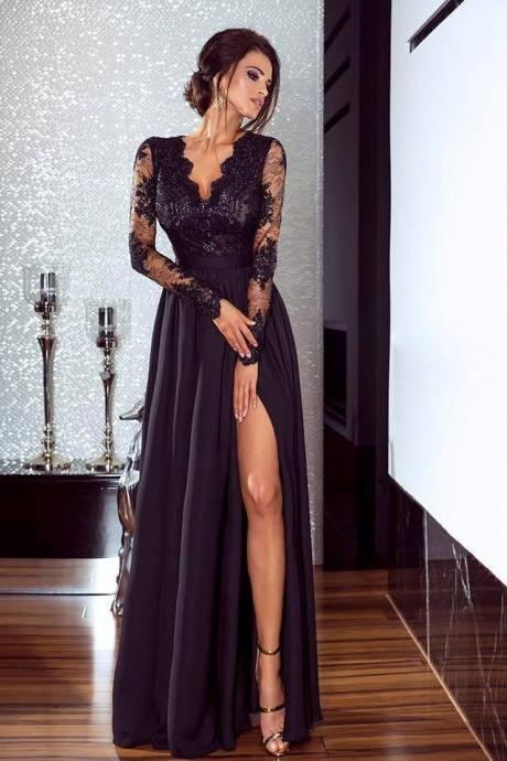 Black Long Sleeve Prom Dresses,Lace Elegant Prom Dress,Long Prom Dresses,Prom Dresses,Evening Dress, Evening Dresses,Prom Gowns, Formal Women Dress