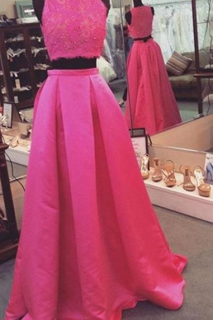 Appliques Two Piece Prom Dress, Formal Evening Dress, Long Prom Dresses,Evening Dresses,Prom Gowns, Formal Women Dress