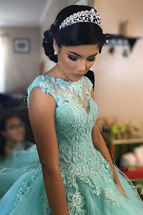 Bule Sleeveless Wedding Dresses,Tulle Ball Gown Wedding Dress, Appliques Blue Formal Wedding Gown Bridal Dresses,Prom Gowns, Formal Women Dress