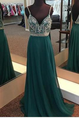 Unique A-Line Spaghetti Straps V Back Long Prom Dress With Beading