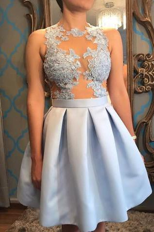 See Though Appliques Party Dresses,Lace Short Prom Dress, Light Blue Prom Gowns, Satin Party Dress,Evening Dresses,Prom Gowns, Formal Women Dress