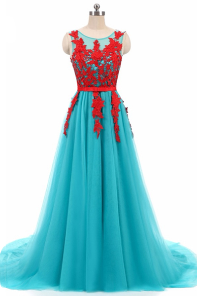 Blue tulle long red lace round neckline evening dress,Evening Dresses,Prom Gowns, Formal Women Dress