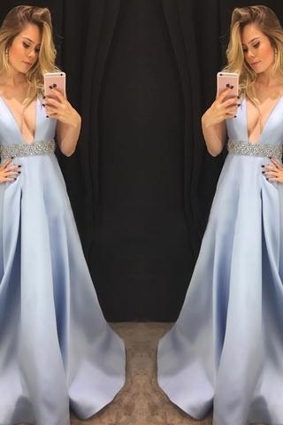 Sexy Blue A Line Prom Dress, Sleeveless Evening Dresses, Long Prom Dresses,Evening Dresses,Prom Gowns, Formal Women Dress