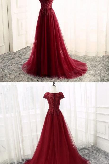 Burgundy Bridesmaid Dresses,Tulle Prom Dress,V Neck Dress,Formal Gowns,Long Evening Dress