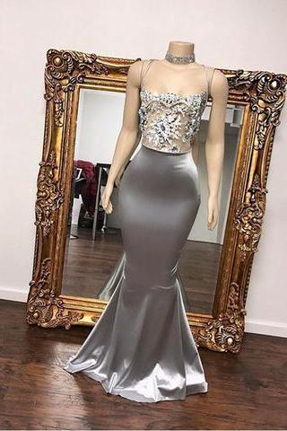 Gray satin evening dresses, long lace top prom dresses,mermaid senior prom dress, long evening dress