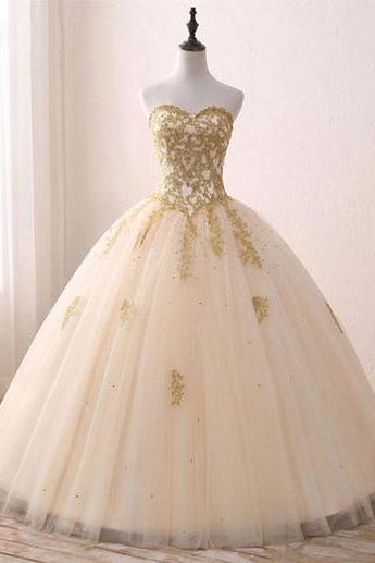 Princess sweetheart wedding dresses,golden appliques wedding dress,long formal prom dress, tulle ball gown Bridal Dresses