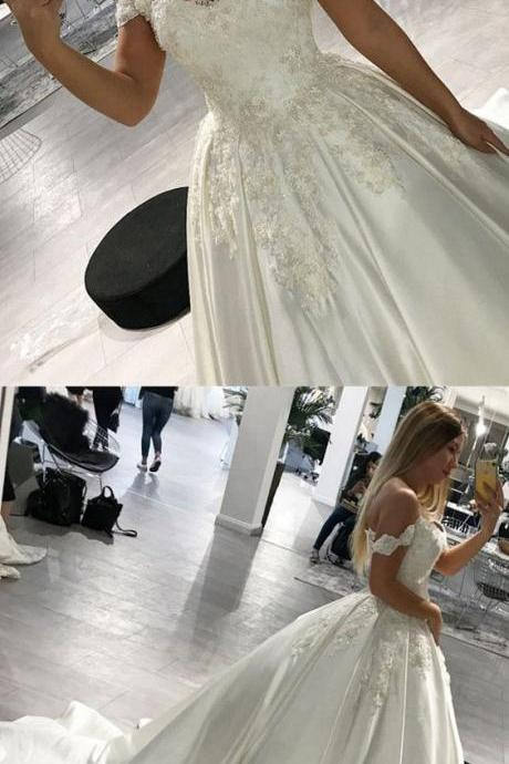 Wedding Dress,Romantic Lace V-neck Wedding Dresses,Off Shoulder Satin Wedding Dresses, Ball Gowns,prom dresses,sexy prom dress