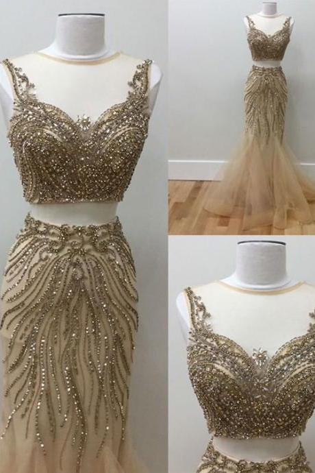 Gold beads two pieces prom dress, tulle evening dresses for teens,evening dress,modest prom dress,prom dresses,sexy prom dress