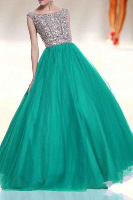 Green round neck prom dresses,tulle beads long prom dress, green evening dress