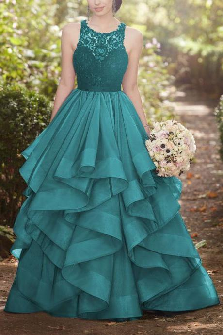 green round neck prom dresses,lace tulle long prom dress, green wedding dress,evening dress,modest prom dress,prom dresses,sexy prom dress