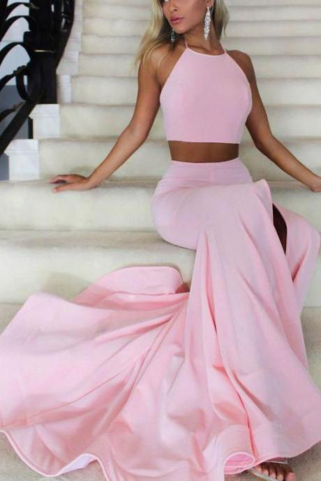 pink two pieces long prom dress, pink evening dress for teens,evening dress,modest prom dress,prom dresses,sexy prom dress