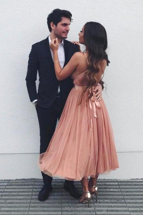 Pink v neck tulle prom dress, pink evening dresses,evening dress,modest prom dress,prom dresses,sexy prom dress