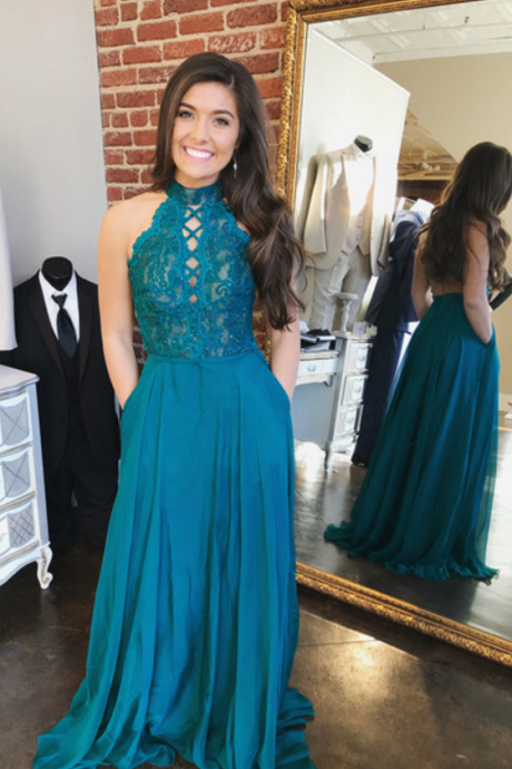 Gorgeous High Neck Blue Long Prom Dress with Pockets ,prom dresses ,sexy prom dress