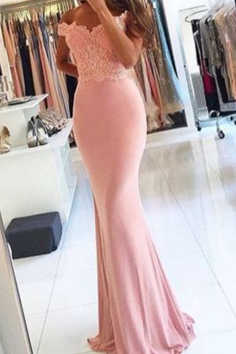 Custom made mermaid pink lace prom dresses, off shoulder long evening dresses,beading formal dresses,Beauty Evening Dresses,Long Prom Dresses