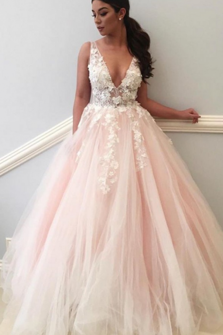 Pink Lace Evening Dress, Prom Dresses, Sexy Evening Dress, Flowers Evening Dress,Ball Gown Evening
