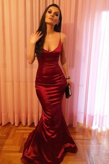 Simple Red Satin Mermaid Long Evening Dress Sexy Prom Gowns