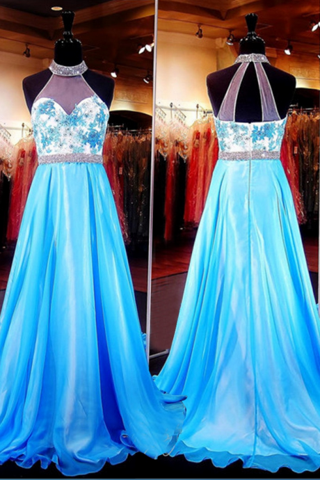 A Line High Neck Sleeveless Sweep Train Beaded Appliques Illusion Back Prom Dress