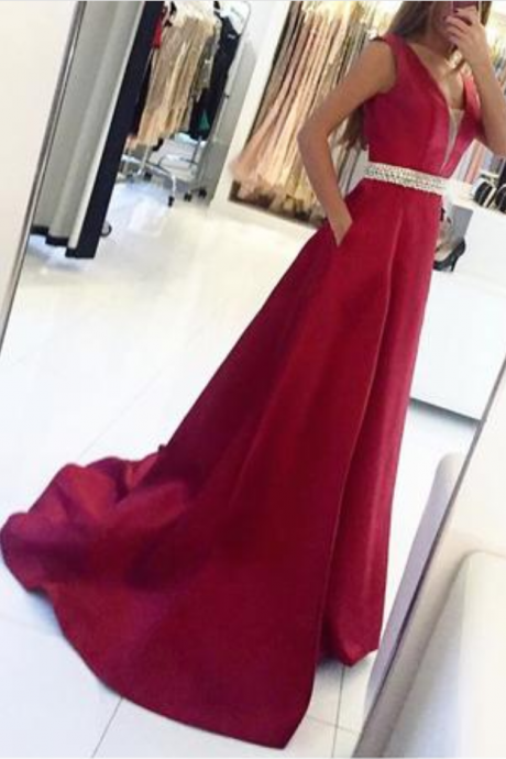 Sexy V Neck Sweep Train Prom Dress,Satin Prom Dresses, Long Evening Dresses