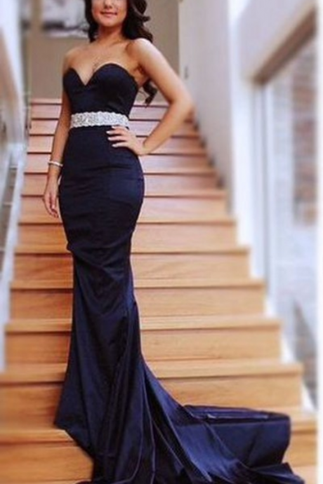 Navy Blue Satin Prom Dresses,Beaded Prom Dresses,Mermaid Prom Dresses,Long Satin Prom Dresses,Satin Party Dress,Beaded Prom Dresses
