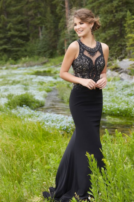 Custom Made Black Mermaid Prom Dress,Beaded Sleeveless Party Dress,High Quality,Mermaid Long Evening Dresses ,Formal Gowns,Prom Dress Evening Dresses