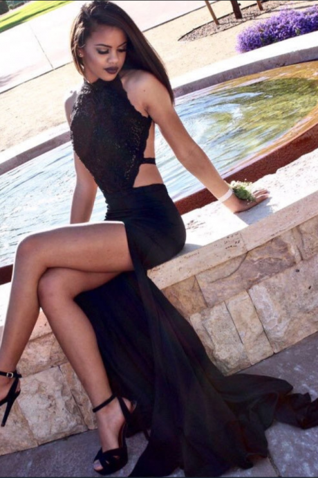 Sexy Halter Lace Prom Dresses,Split Side Black Backless Prom Dress, Party Gown,Mermaid Evening Dresses,Prom Dresses,Sexy Prom Dresses,Sparkle Prom Dresses