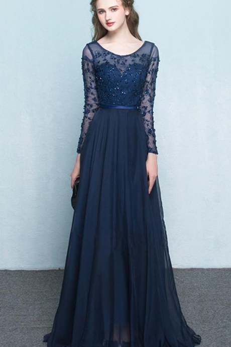 Scoop Chiffon Neck Prom Dresses,Long Sleeves Beading Evening Dress, Prom Dress