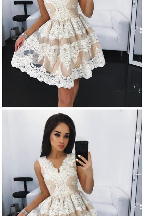 homecoming dresses ,Lace Homecoming Dresses,Short Lace Party Dresses,Sleeveless Homecoming Party Dress