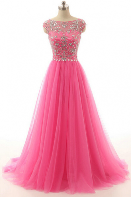 cap sleeve prom dress, tulle prom dress, modest prom dress, pink prom dress, formal prom dress, inexpensive prom dress, modest prom dresses