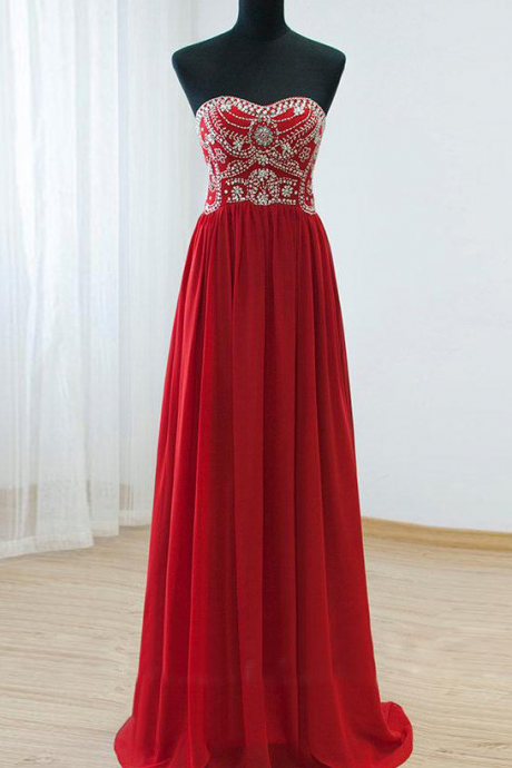Gorgeous Red Prom Dress, Elegant Evening Dress, Long Prom Dresses, Cheap Prom Dress, Chiffon Prom Dresses, Sparkly Prom Gowns, Formal Evening Gowns, Real Photo Dress