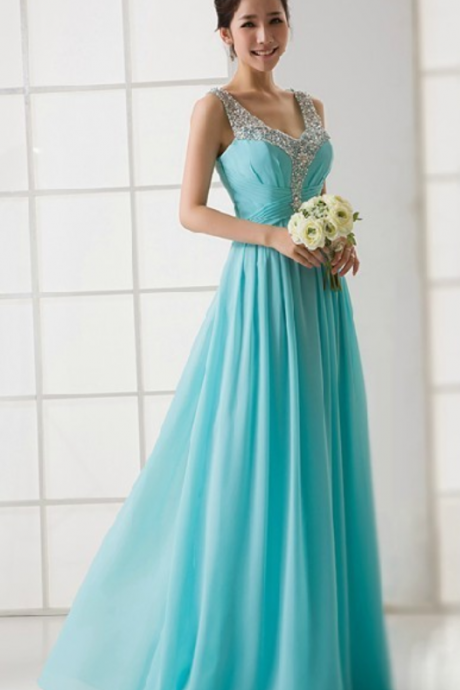 Elegant Turquoise V-neck Evening Dresses,See Through Back Beaded Evening Dress ,Formal Prom Party Dress, Long Chiffon Dresses