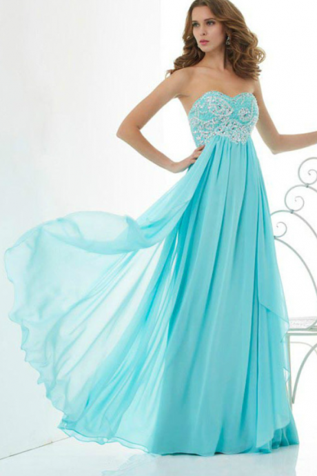 Long Chiffon prom dress Free Shipping Cheap Beaded Ruffle Chiffon Long Evening Dress