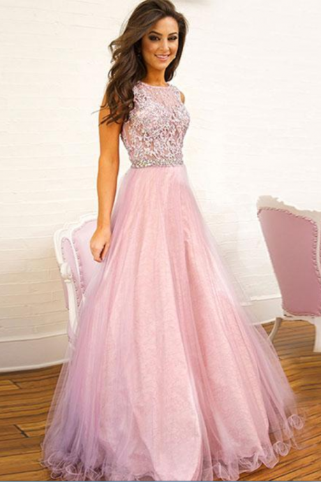Pink lace tulle long prom dress, pink evening dress ,Sexy Prom Dresses,Sparkle Prom Dresses