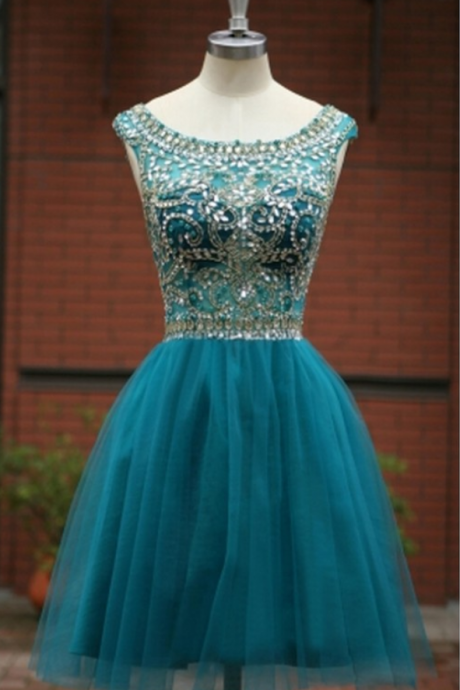 Illusion Beading homecoming dresses,Cocktail Dress With V Back, homecoming dress,Sexy Prom Dresses,Sparkle Prom Dresses