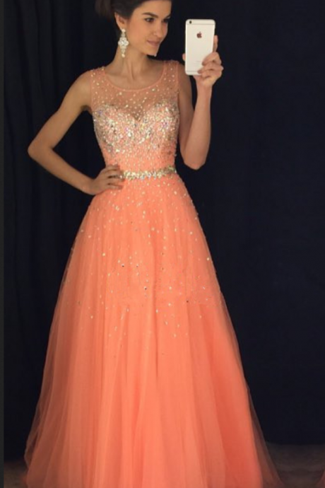 New Arrival Prom Dress,Modest Prom Dress,coral prom dresses,cap sleeves prom gowns,long evening dress,beaded prom dresses,Sexy Prom Dresses,Sparkle Prom Dresses
