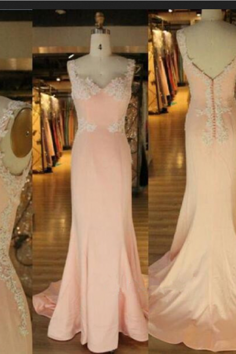 Pink Sweetheart Prom Dresses,Mermaid Prom Dress,Evening Dress,Straps Prom Dress,Lace Applique Prom Dress,Sexy Prom Dresses,Sparkle Prom Dresses