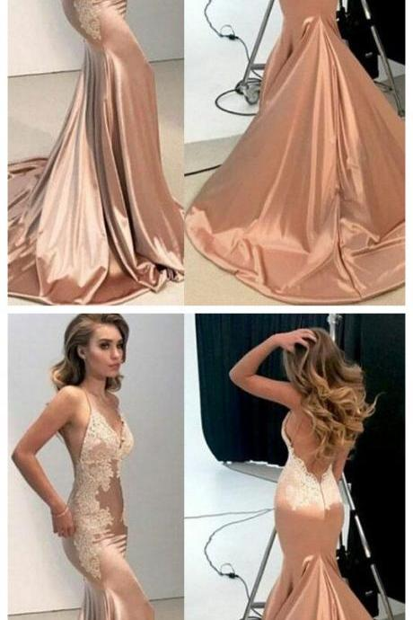 Sexy Mermaid Backless Formal Dress ,Women Nude Evening Long Lace Prom Dresses , Long Evening Dresses