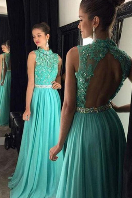 New Style Prom Dresses,A Line Prom Dress,High Neck Open Back Prom,Long Prom Dress,Appliques Beading Prom Evening Dress