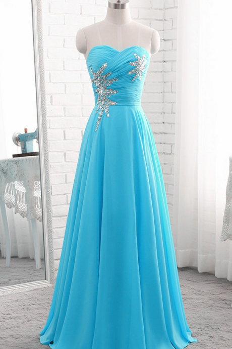 Blue Chiffon Beaded Prom Dresses,Chiffon Long Prom Dress , Long Formal Gowns, Junior Prom Dresses,Long Evening Dresses, A-Line Evening Dresses