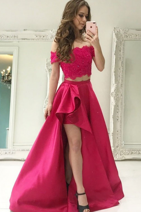 Satin Prom Dress.Two Piece Prom dress, Off The Shoulder Prom Dresses, Pageant Gowns,Short Front Prom Dress
