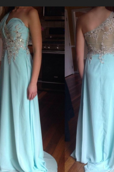 Blue Evening Dress,Exquisite Evening Dress,Dinner Party Evening Dress,Chiffon Evening Dress