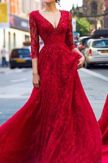 Charming Prom Dress, Red Appliques Long Prom Dresses with Beaded, Long Sleeve Evening Dress,Lace Prom Dresses,Evening Gowns,Formal Dress