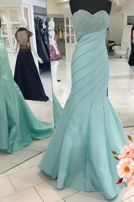 Luxurious Mermaid Long Prom Dress, Prom Dress, Light Blue Prom Dress,Prom Dresses,Evening Gowns,Formal Dress