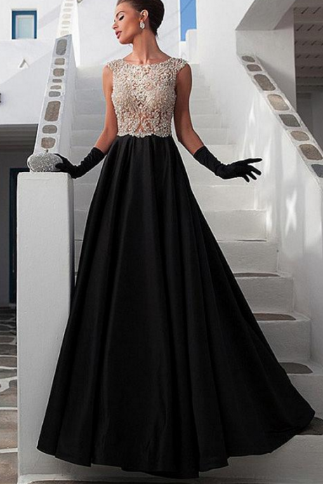 Stunning Satin Prom Dress,Scoop Neckline Prom Dresses,See-through Full-length A-line Prom Dresses With Beadings & Rhinestones ,evening dresses,Evening Gowns,Formal Dress