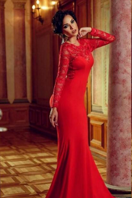 Red Evening Dresses, Sexy Prom Dress, Long Sleeve Prom Dresses, Mermaid Evening Dresses, Formal Dress, New Arrival Evening Dresses, Open Back Evening Dresses, Lace Evening Dresses