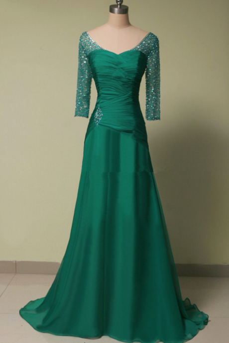 Long sleeve green mermaid Prom Dress,party dress, was the crystal formal party dress,Charming Prom Dress, Sexy Prom Dresses,Evening Dress
